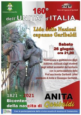 Locandina 160° Unità d'Italia e bicentanario nascita Anita Garibaldi