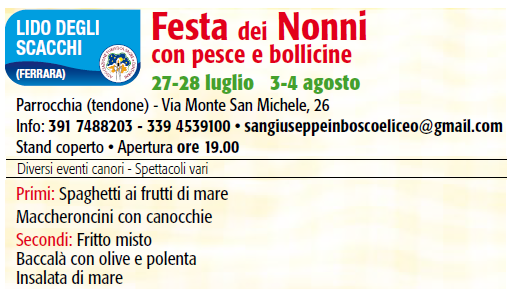 Calendario Festa Dei Nonni.Festa Dei Nonni Ferrara Terra E Acqua